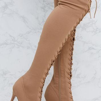 Nude Thigh High Lace Up Heeled Sock Boots