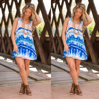 Summer Women's Fashion Print Sleeveless Spaghetti Strap One Piece Dress [6343457921]
