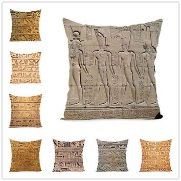 18 Inch Retro Indian Egyptian Characters Printing Square Polyester Pillow Cover Car Seat Cushion Sofa Pillow Room Bedroom Cushio