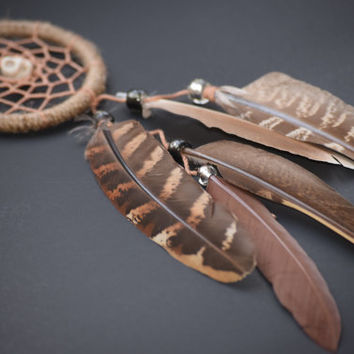 Hippie dream catcher, Car Dream catcher, Skull  Decor, Rear View Mirror, Small Dreamcatcher, Car Charm, Natural Pheasant Feathers.
