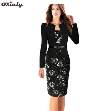 Oxiuly Plus Size S-4XL One-piece Faux Jacket Brief Elegant Patterns Work Dress Office Bodycon Female Sheath Pencil Dress