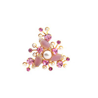 Vintage Pink Rhinestone and Faux Pearl Brooch / Vintage Jewelry / Costume Jewelry