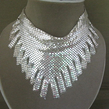Whiting Davis Silver Mesh Necklace by ChickenLittleJewelry on Etsy