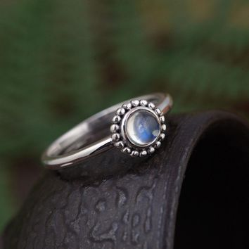 FNJ 925 Silver Round Ring for Women Jewelry Natural Moonstone New Fashion Stone Pure S925 Sterling Silver Ring size 5.5-8