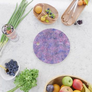 Purple and faux silver swirls doodles Cutting Board by savousepate