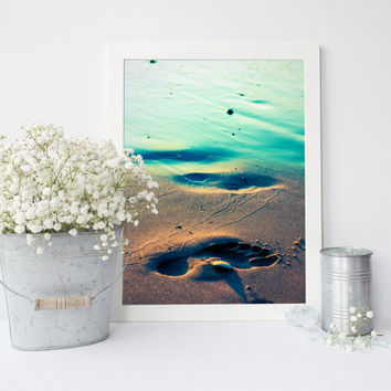 Beach photography print, footprint in sand, Lake Michigan, fine art photograph, blue, aqua, beach decor wall art, shore, beach print, 8x10