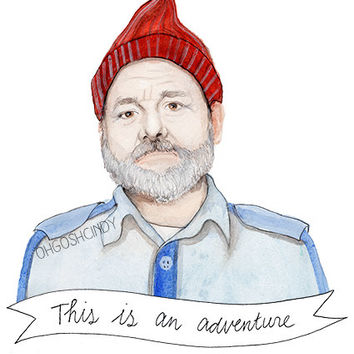 Steve Zissou watercolor portrait illustration print Bill Murray the Life Aquatic