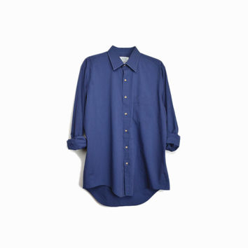 Men's Vintage Navy Blue Shirt / Basic Button Front Shirt - men's 16.5 34/35