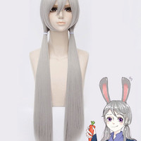 Zootopia Rabbit Halloween Cosplay Wig with Straight Silver Long Bangs
