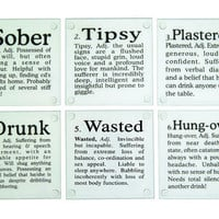 KIKKERLAND GLASS COASTERS + DRUNK WORDS