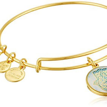 Alex and Ani Art Infusion Hand of Fatima EWB Rafaelian Yellow Gold Bangle Bracelet