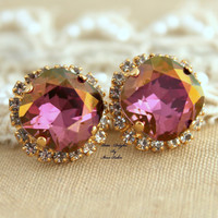 Rhinestone stud Golden Autumn Purple violet swarovski Crystal,christmas gift  - 14k plated gold post earrings real swarovski rhinestones.