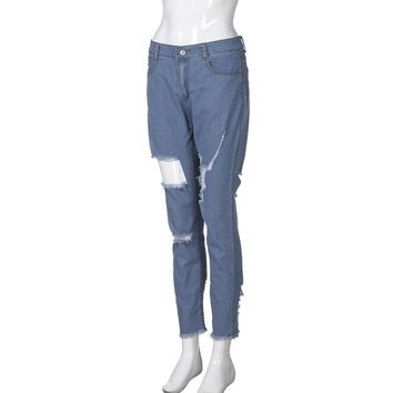 Skinny Ripped Holes Jeans Pants High Waist Stretch Slim Pencil Trousers