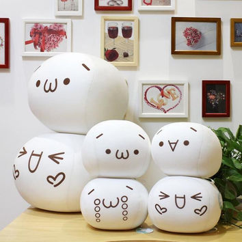 Creative Soft Facial Expression Cute Animation Face Word Character Emoticon Emoji Round Pillow Emotion Icon Cushion Home Decor