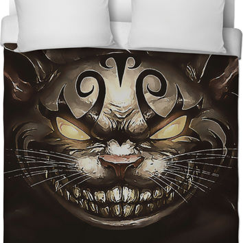 Follow the white rabbit Alice ;) Cheshire cat reimagined, duvet cover in brown colors