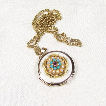 Locket Amethyst Pearl Turquoise Pendant Necklace Vintage Jewelry Germany