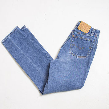 "Vintage Levi's JEANS - Denim Slim Fit Tapered Leg High Waist 1980s - 26"" x 30"" S"