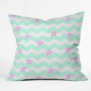 Monika Strigel Sweet Stars And Mint Candy Throw Pillow