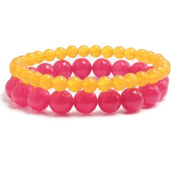2 Pcs / Set Couples Distance Classic Natural Chalcedony Stone Red And Yellow Color Beaded Bracelets For Men Women Best Friend