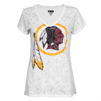 Washington Redskins - Large Logo Juniors Burnout V-Neck T-Shirt
