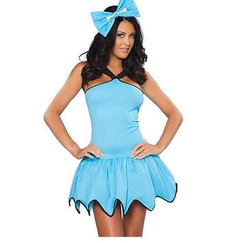 ONETOW Dower Me Flintstones Rubble Cavegirl Womens Fancy Dress Light Blue Gear Hem Womens Costume Ladies Halloween Cave Cosplay W292710