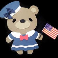 Girl Teddy Bear Sailor Card, Navy Teddy Bear, Patriotic Bear Card, Teddy Bear Cards