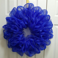 Blue Deco Mesh Wreath 22""