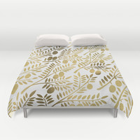 Gold Olive Branches Duvet Cover by Cat Coquillette