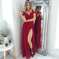 ♡ Red Off The Shoulder Maxi Dress ♡