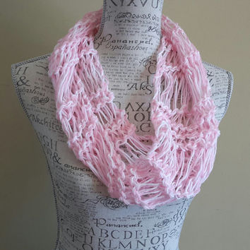 Knit pink and white very light weight scarf. spring cowl. Made by Bead Gs on ETSY. skinny scarf.