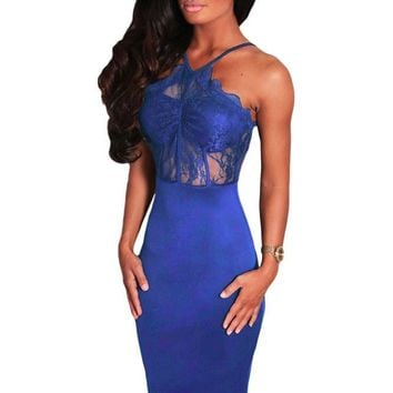 Blue High Neck Strappy Midi Dress