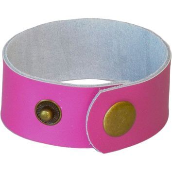 "Diffuser Bracelet, Genuine Leather 1"" Cuff - Pink"