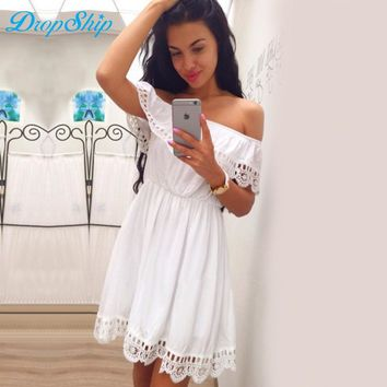 Women Elegant Sweet Lace White Dress
