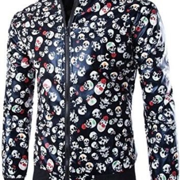 jeansian Men's Fashion Floral Leather Jacket Coat 9367