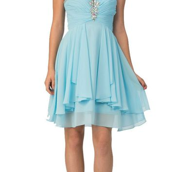 Starbox USA S6099 Beaded Ruched Bust Tiffany Blue Chiffon A-line Short Prom Dress Sweetheart Neck
