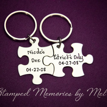 Her One, One His Only - Personalized Names & Date - Hand Stamped Puzzle Piece Keychain Set - Couple Key Chain - Wedding, Anniversary Gift