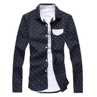 Anchor Patterned Casual Dress Shirt V.X