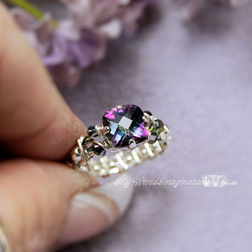 Rainbow Mystic Topaz Checkerboard Cut Handmade Wire Wrapped Ring - Signature Design Marcella Ring