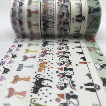 jiataihe cat washi tape sticker kawaii stationery  planner masking sun butterfly hallowmas  washi tape Cat  label DIY
