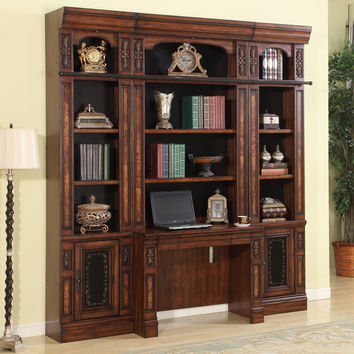 Leonardo Library Desk 4 Piece Wall Antique Vintage Dark Chestnut
