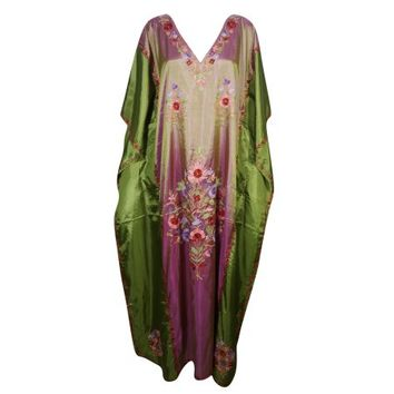 Mogul Womens Maxi Kaftan Double Shaded Silk Kashmiri Floral Embroidered Caftan Evening Wear Beach Caftans Maxi Dress Green Pink Long Cover Up Gift For Mom - Walmart.com