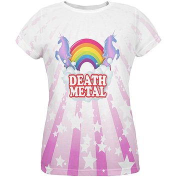 Death Metal Rainbow Unicorns All Over Womens T Shirt