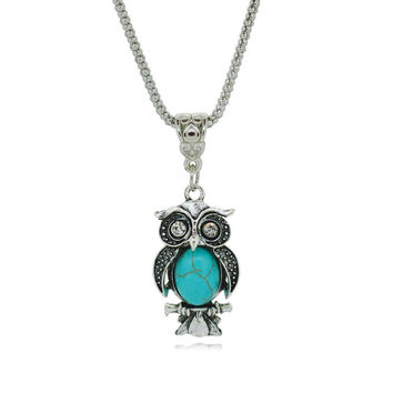 Antique Look Silver Owl Pendant necklace