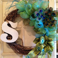Peacock Feather Monogram Deco Grapevine Wreath, peacock feather wreath, peacock wreath, peacock feather, peacock decor, door wreath