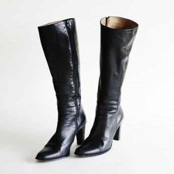 90s Knee High Nottingham Leather Boots by J Crew Made in Italy