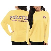 Women's East Carolina Pirates Yellow Aztec Sweeper Long Sleeve Oversized Top