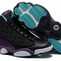 Cheap Air Jordan 13 Men Shoes Suede Black Purple