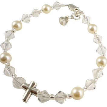 Cross Bracelet with Crystal, Pearls & Sterling Silver for Girls, Baby