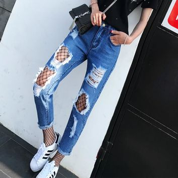 Ripped Jeans With Net Socks For Women Blue Hole Plus Size Jeans American Apparel Ladies Destroyed Harem Jeans Pants Femme