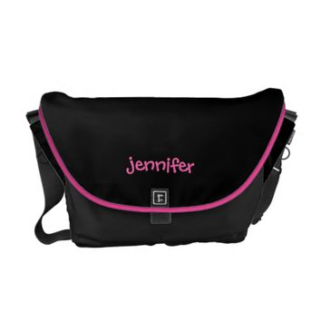 Personalized Messenger Bag, Medium Black and Pink Courier Bag